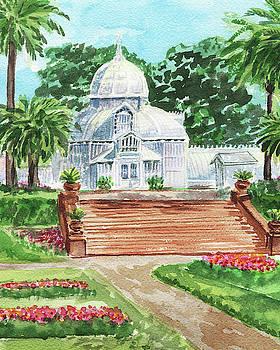 Golden Gate Park Conservatory Of Flowers Watercolor  by Irina Sztukowski