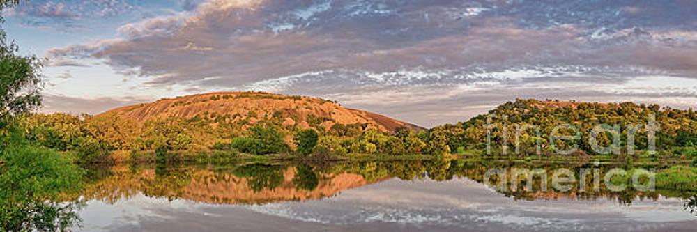 Golden Hour Contemplation at Moss Lake - Enchanted Rock Fredericksburg Texas Hill Country by Silvio Ligutti