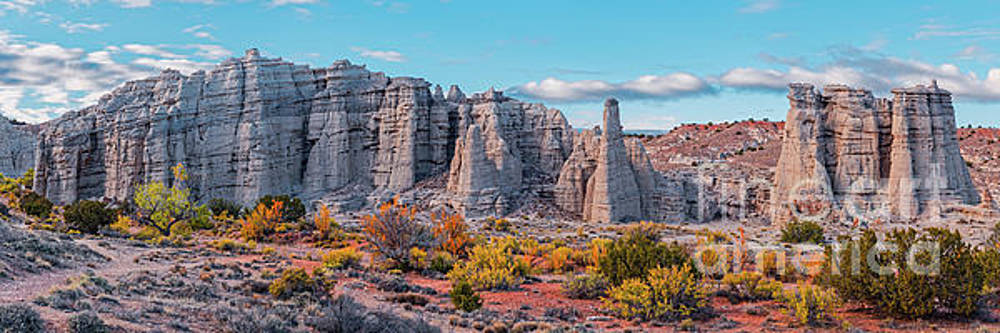 Golden Hour Fall Panorama of Plaza Blanca - Abiquiu Rio Arriba County New Mexico by Silvio Ligutti