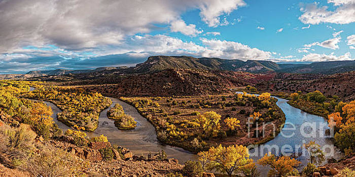 Golden Hour Panorama of Rio Chama Valley in Abiquiu - Rio Arriba County New Mexico by Silvio Ligutti