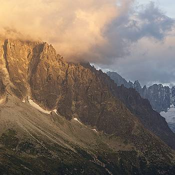 Golden Light hits the side of the Aiguille Verte by Stephen Taylor