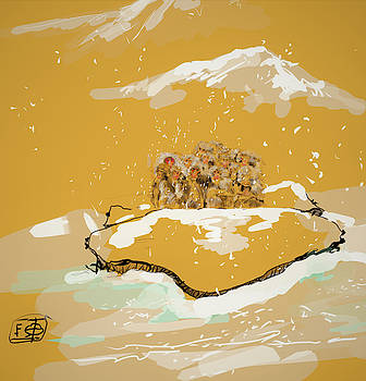 Golden snow monkeys g55t by Debbi Saccomanno Chan