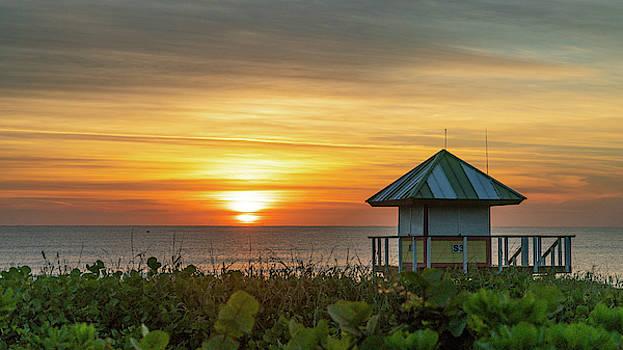 Golden Sunrise Lifeguard Tower Delray Beach Florida by Lawrence S Richardson Jr