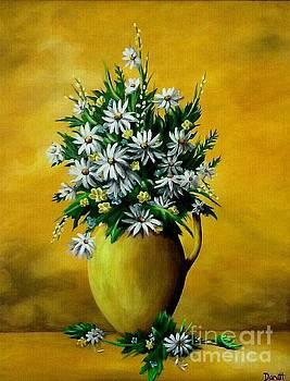 Golden Vase Flowers  by Danett Britt