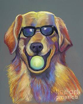 Golden with ball by Ann Hoff