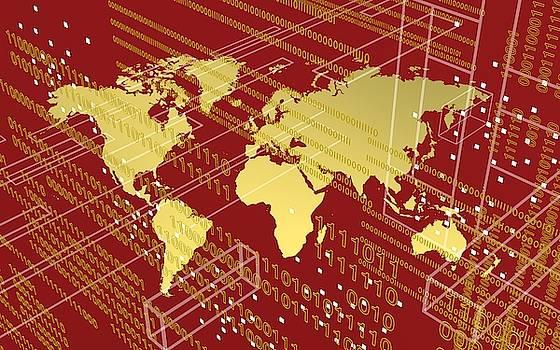 Golden worlmap over tech and redish background. by Alberto RuiZ