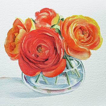 Irina Sztukowski - Gorgeous Ranunculus Watercolor Bouquet