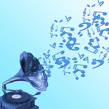 Gramophone and musical symbols on blue background by Pixel Arty