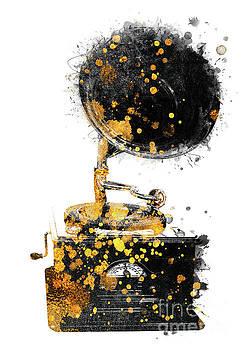 Justyna Jaszke JBJart - Gramophone music art gold and black