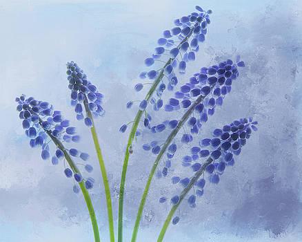 Grape Hyacinth Bouquet by Rebecca Cozart