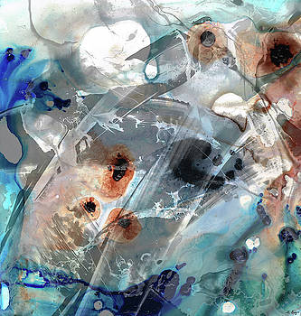 Gray and Blue Abstract Art - Enchanted Journey by Sharon Cummings