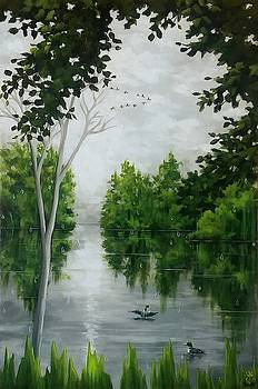 Gray cloudy day at the lake by Danett Britt