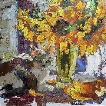 Gray kitten and sunflowers by Valerie Lazareva