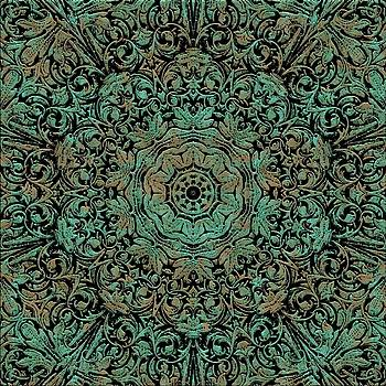Green Copper Floral Kaleidoscope by Cindy Boyd