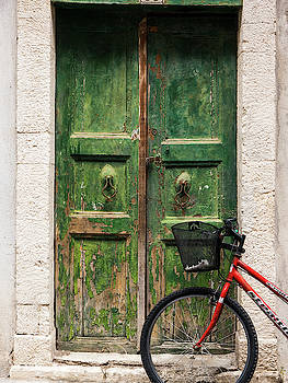 Green Door and Bicycle by Rae Tucker