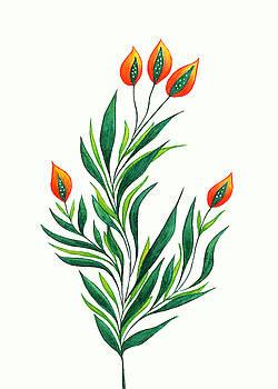 Green Plant With Orange Buds by Boriana Giormova