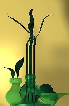 Green still life over golden background by Alberto RuiZ