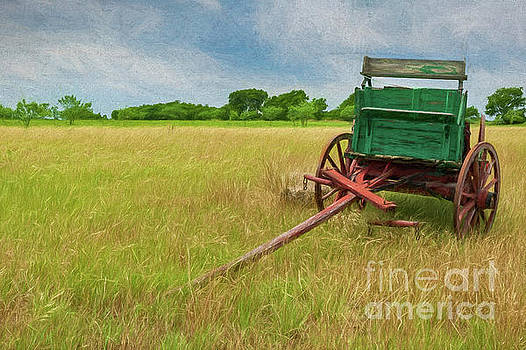 Green Wagon and Field by Patti Schulze