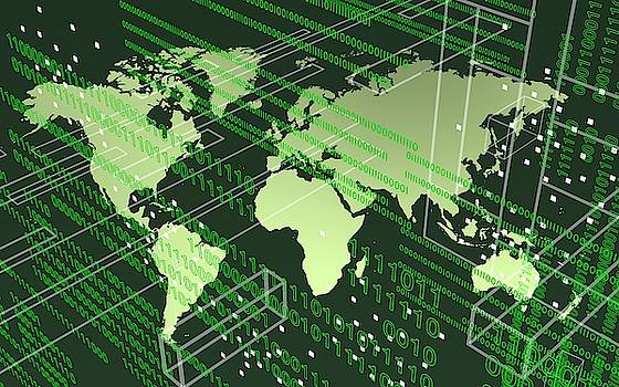 Greenish worldmap in tech future. by Alberto RuiZ