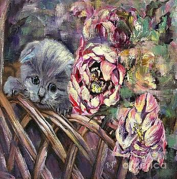 Grey Kitten in Basket of Double Peony Floworing Tulips by Ryn Shell