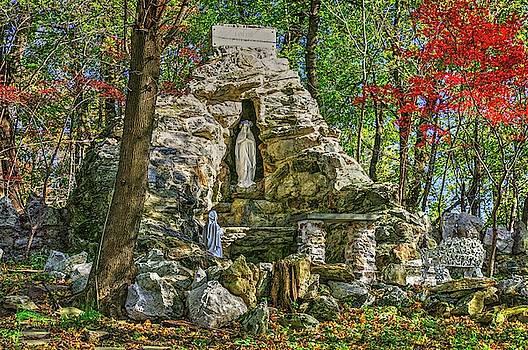 Grotto of Lourdes No. 1 at Saint Peter the Apostle Catholic Church - Libertytown, Maryland - Autumn by Michael Mazaika