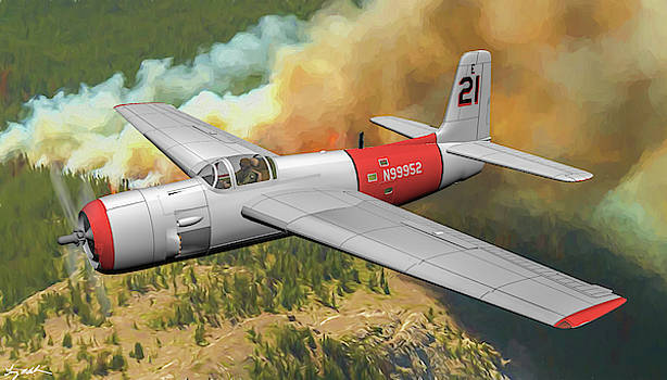 Grumman AF-2S Guardian Fire Bomber - Oil by Tommy Anderson