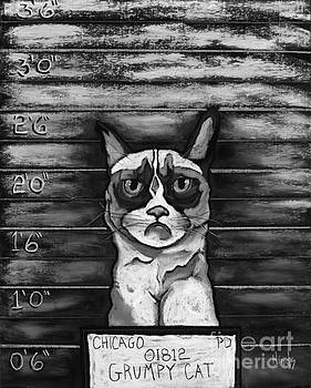 David Hinds - Grumpy Cat Mugshot - Black and White