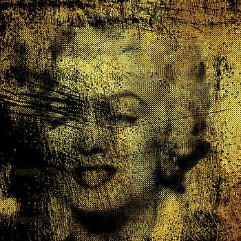 Grunge Marilyn Monroe in Gold 48x48 huge POP ART  by Robert R Splashy Art Abstract Paintings