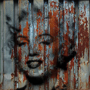 GRUNGE MARILYN MONROE Rusty Patina PAINTING SILKSCREEN HALFTONE by Robert R Splashy Art Abstract Paintings