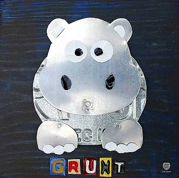 Grunt the Hippo License Plate Art Wall Art by David Bowman