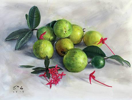 Guavas and Ixora by Jonathan Guy-Gladding JAG