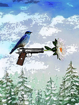 Bluebird of Happiness- Flower in a gun by Shelley Myers