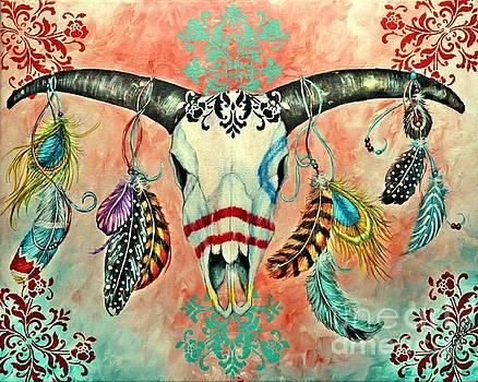 Gypsy Bull Skull by Amanda Hukill