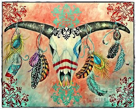Gypsy Bull Skull with Border by Amanda Hukill