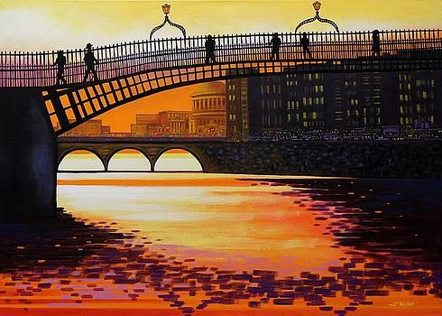 Ha Penny Bridge Reflections by John  Nolan