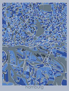 Hamburg Map Retro 5 by Bekim M