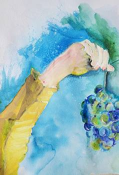 Hand And Grape Painting  by Lisa Kaiser