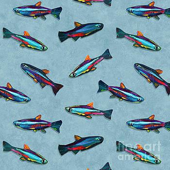 Robert Phelps - Hand Painted Neon Tetra Fish Pattern
