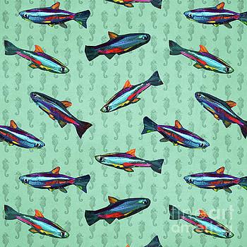 Robert Phelps - Hand Painted Neon Tetra Pattern on Seafoam