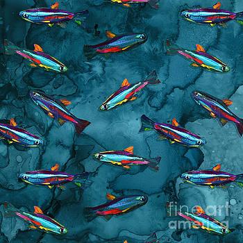 Robert Phelps - Hand Painted Neon Tetra Pattern