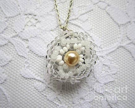 Handmade pendant White flower by Inessa Williams