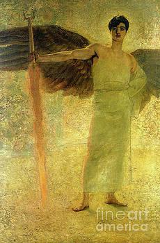 Tina Lavoie - Handsome Golden Angel Antique Christian Religious art