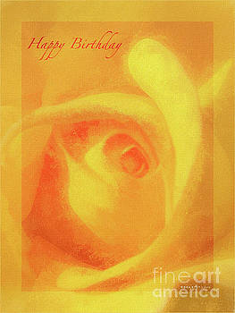 Happy Birthday Roses Golden Greeting by Mona Stut