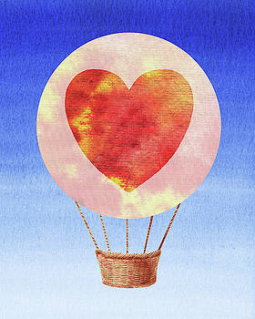 Happy Heart Hot Air Balloon Watercolor II by Irina Sztukowski