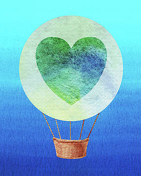 Happy Heart Hot Air Balloon Watercolor III by Irina Sztukowski