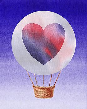 Happy Heart Hot Air Balloon Watercolor IV by Irina Sztukowski