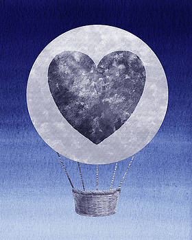 Happy Heart Hot Air Balloon Watercolor IX by Irina Sztukowski