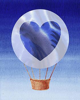 Happy Heart Hot Air Balloon Watercolor V by Irina Sztukowski
