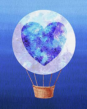 Happy Heart Hot Air Balloon Watercolor VII by Irina Sztukowski