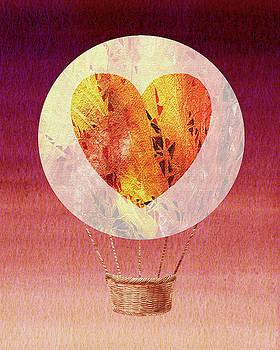 Happy Heart Hot Air Balloon Watercolor VIII by Irina Sztukowski